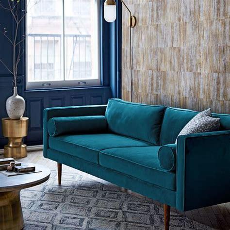 monroe leather chair and ottoman monroe mid century sofa celestial blue luster velvet