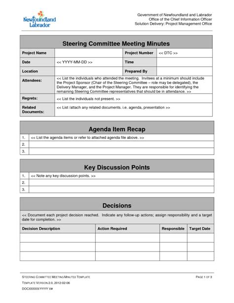 ms word project management template project management meeting