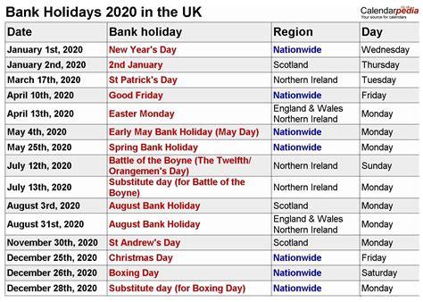 calendar showing bank holidays calendar template printable