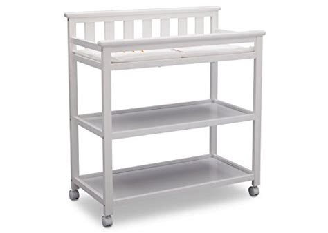 Delta Children Flat Top Changing Table With Casters White Baby Changing Table With Wheels