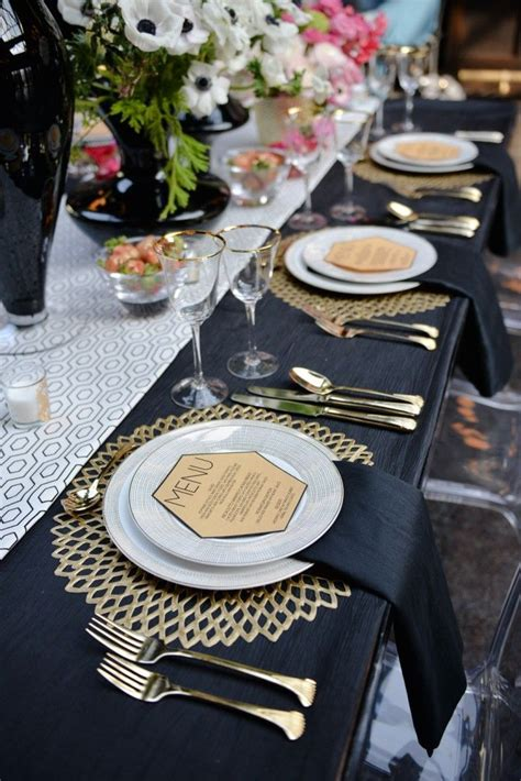 reception decor once wed elegant table settings gold pink art deco brooklyn wedding inspiration part i