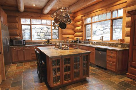 cabane en bois pas cher 3571 rustic kitchen in log house