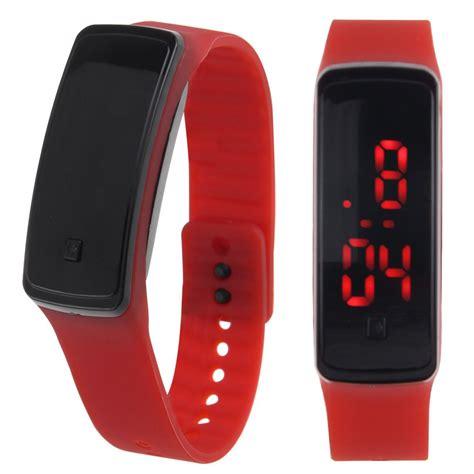 womens mens silicone band digital led bracelet wristwatch