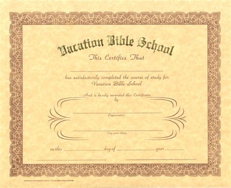 vacation certificate template 6 best images of printable vbs certificates vacation