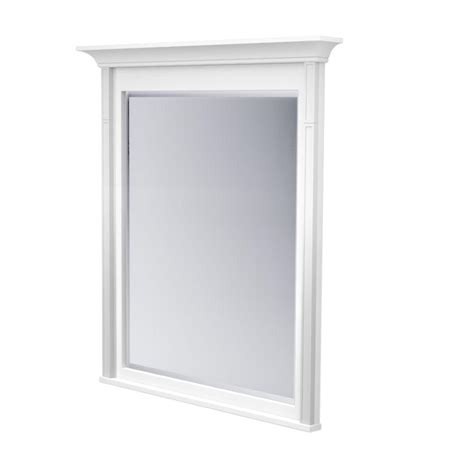 shop kraftmaid savoy 36 in h x 24 in w praline rectangular bathroom mirror at lowes com kraftmaid 42 in l x 36 in w framed wall mirror in dove