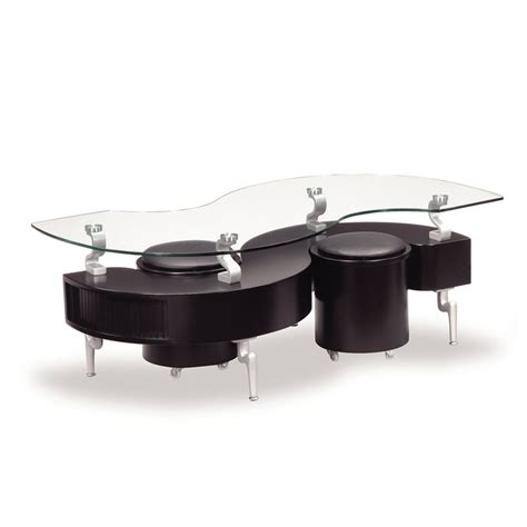 Glass Coffee Table With Stools Global T288 Glass Coffee Table In Black W Black Stools Beyond Stores