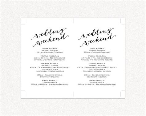 Wedding Weekend Itinerary Card 183 Wedding Templates And Printables Information Card Template