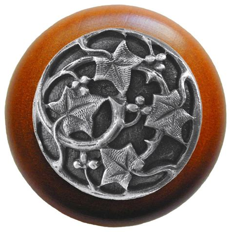 ivy with berries wood knob antique pewter cherry wood