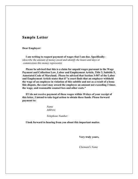 Payment Request Letter To Employer Demand Letter To Employer Sle Maryland In Word And Pdf Formats