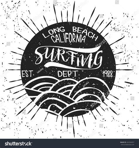 pattern surf graphic t shirt surfing california tshirt graphic print design stock