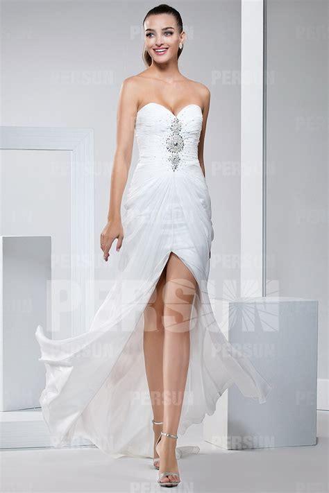 Robe De Cocktail Blanche - robe cocktail de mariage longue blanche bustier coeur orn 233