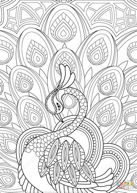 hard coloring pages of peacocks zentangle peacock with ornament coloring page free
