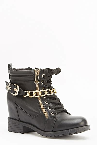 chain buckle wedge boots just 163 5
