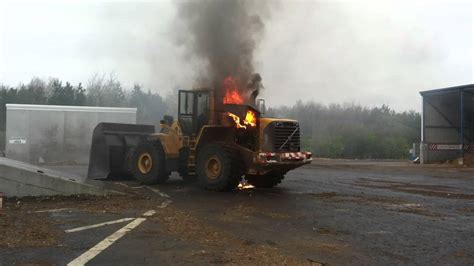 volvo wheeled loader  fire youtube