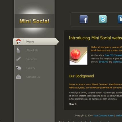 Mini Social Free Website Templates In Css Html Js Format For Free Download 214 86kb Free Website Templates Html And Css And Javascript