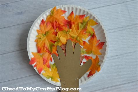 Fall Paper Plate Crafts - paper plate fall tree kid craft