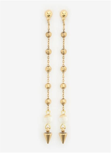 ela beaded chain earrings in metallic lyst