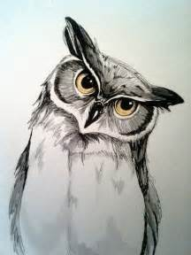 water color owl 9x12 original pen and watercolor owl painting pen and