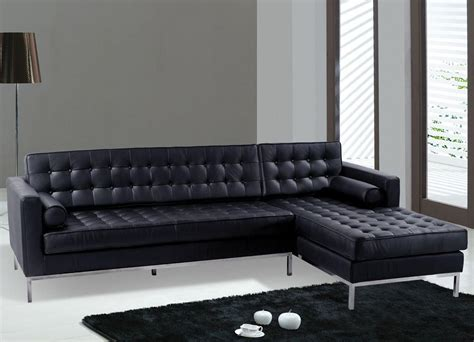 Sofas Modern Black Leather Sectional Sofa Black Color Black Leather Contemporary Sofa