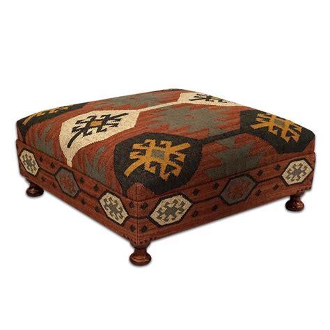 Ottomans Footstools Large Wool Kilim Jute Coffee Table Ottoman Square 39 D X 16 H Ottomans Footstools Poufs