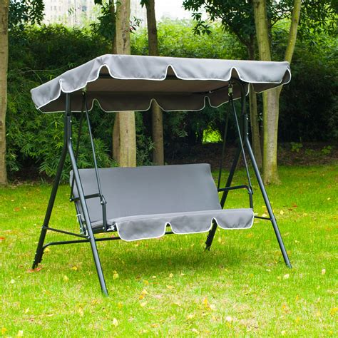 metal garden swing outsunny metal 3 seater outdoor swing chair lounger with