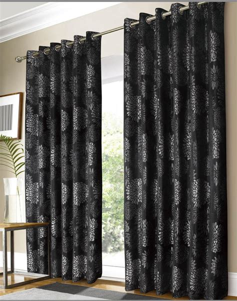 Black And Curtains Black Silver Vegas Ready Made Curtains Free Uk Delivery