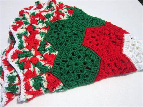 christmas tree skirt crocheted granny hexagons in red