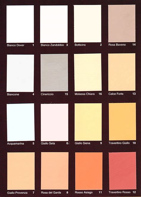 mazzette colori per interni pittura a calce