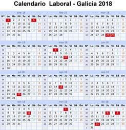 Calendario 2018 Laboral Madrid Calendario Laboral 2018 Galicia Y 15 Festivos