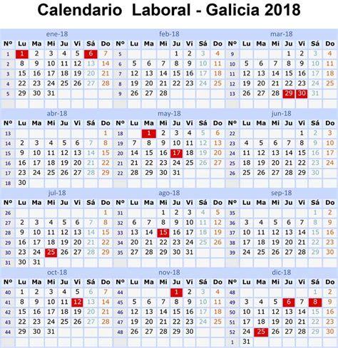Calendario 2018 Laboral España Calendario Laboral 2018 Galicia Y 15 Festivos