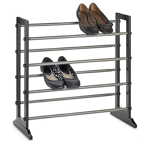shower rack bed bath beyond 4 tier expandable shoe rack in mahogany bed bath beyond