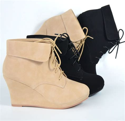 Wedge Heel Lace Up Boots Blue s ankle boots wedge almond toe platform lace up