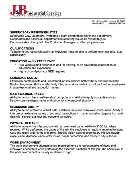 sle of description of cnc programmer resumes design