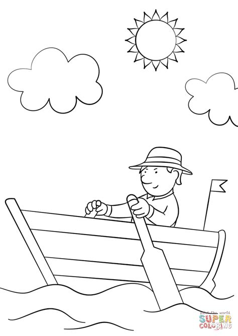 vinta boat drawing man in wooden row boat coloring page free printable