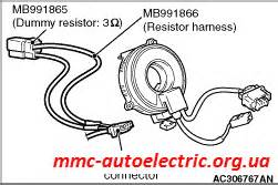 mitsubishi airbag resistor code no 1402 driver s air bag 1st squib earth side circuited code no 1482 driver s