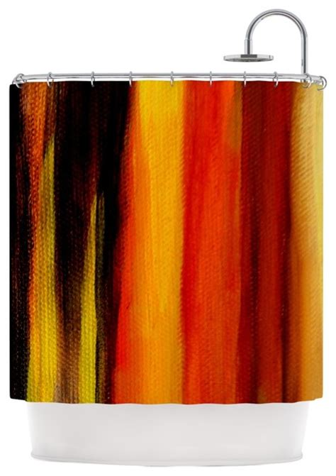 Shower Curtains Orange Theresa Giolzetti Quot Firework Quot Yellow Orange Shower Curtain Contemporary Shower Curtains By
