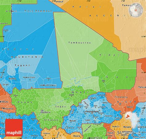 political map of mali political shades map of mali
