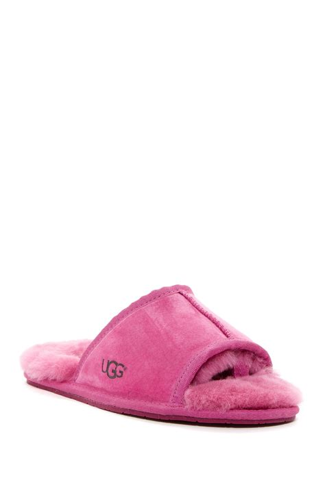 m s slippers ugg mellie open toe genuine shearling slipper in pink lyst
