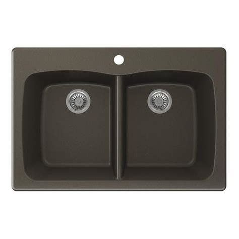 """Swan Granite 33""""W x 22""""D Even Double Bowl Kitchen Sink at"""
