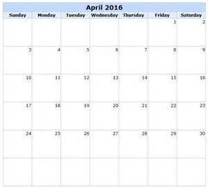 April 2016 Calendar With Holidays April 2016 Calendar With Holidays