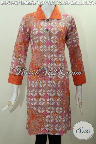 desain baju kerah online baju batik blus warna orange desain mewah bahan halus