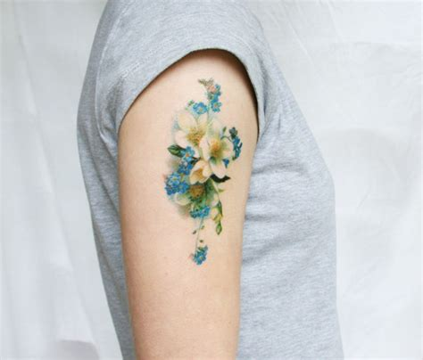 flower tattoo etsy vintage blue floral temporary tattoo flower fake flowers