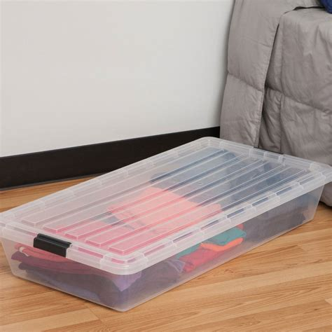 storage under bed iris clear underbed storage container in under bed storage
