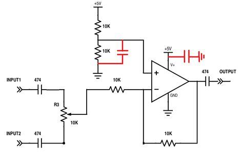 decoupling capacitor dc offset op crossfading between 2 audio signals single