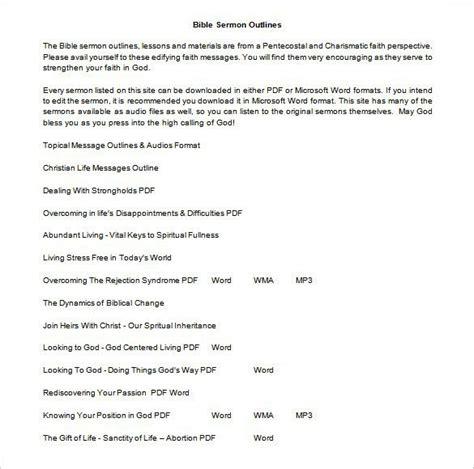 sermon outline template download free premium