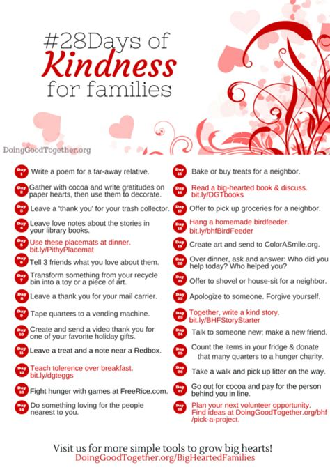 28 random acts of kindness 28 days of kindness challenge for a heart warming family