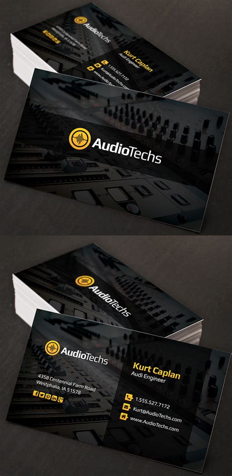 audio engineer business card template corporate creative business card psd templates design