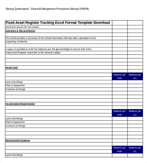 fixed asset register excel template 8 asset tracking templates free sle exle format