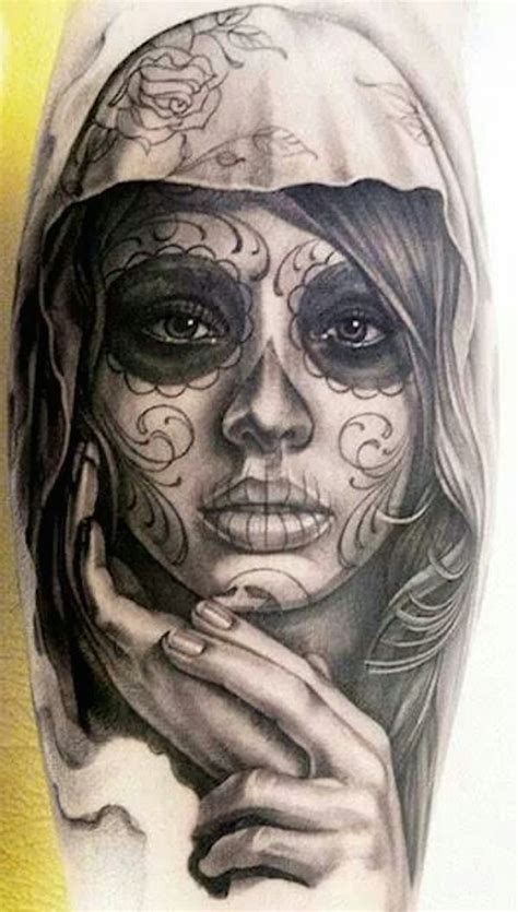 44 elegant day of the dead tattoos gallery