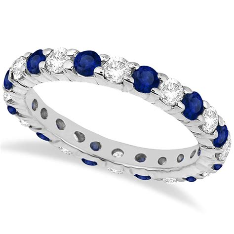 Blue Sapphire 3 35ct eternity blue sapphire ring band 14k white gold
